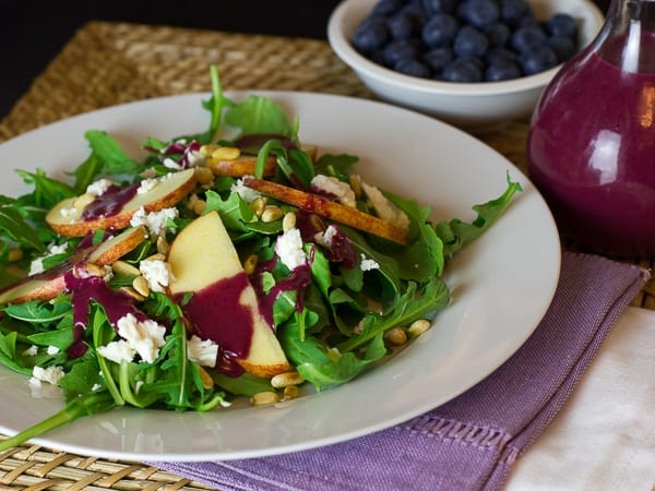 Arugula Salad with Apple Feta Pine Nuts and Roasted Blueberry Vinaigrette-8