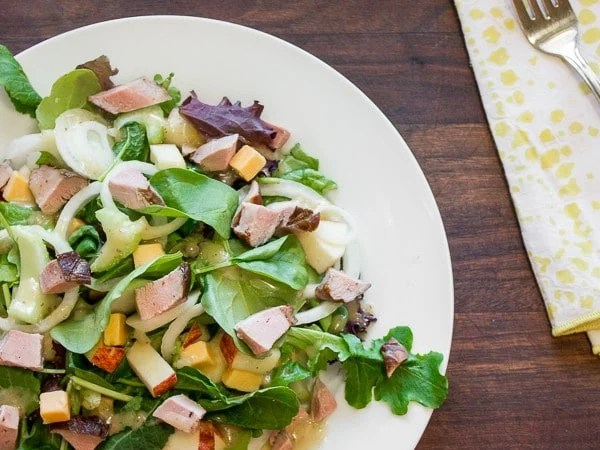 Smoked Duck with Apple Extra Old Cheddar and Mixed Greens Salad-3
