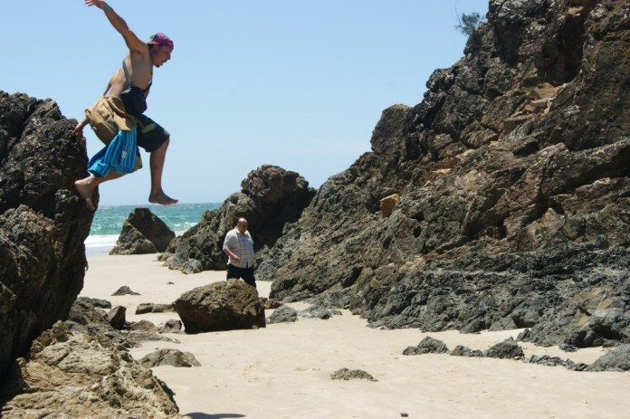 Jumping off a rock
