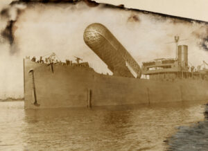 A view of the H.M.S Canning and its observation balloon. CREDIT: National Geographic.