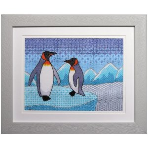 Penguins Blackwork Embroidery Kit