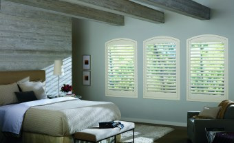 Arch top off white shutters HD