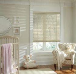 Hunter Douglas Parkland Wood Blinds Malted Milk LiteRise for Kids Room