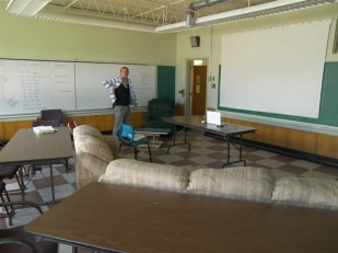 Graham setting up the classroom