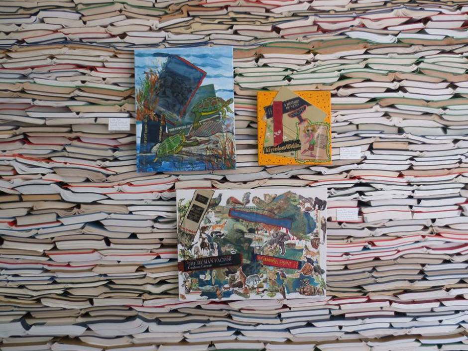 book wall and collages