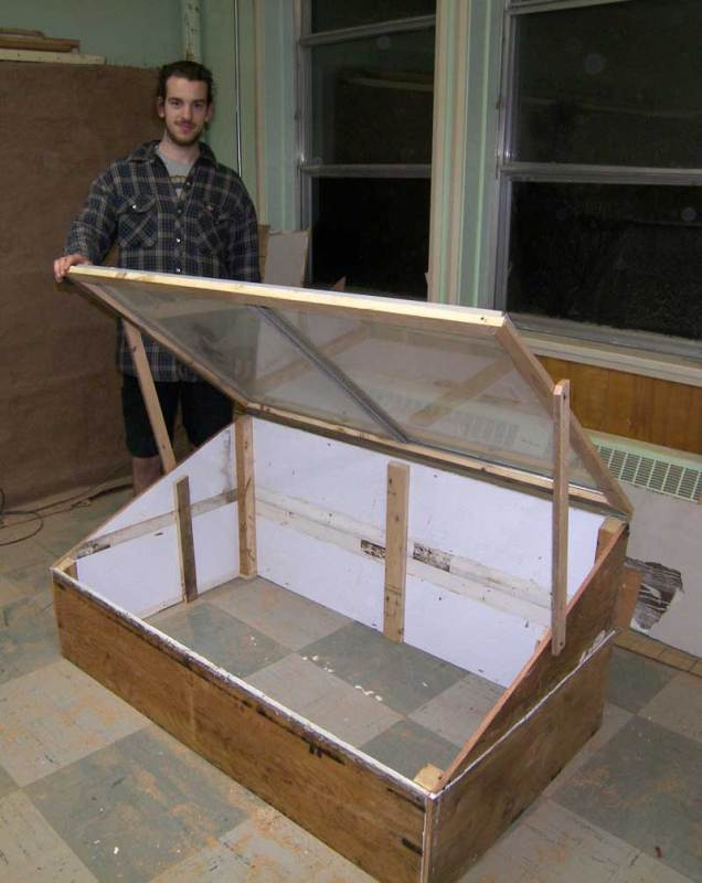 Large coldframe, 6 ft wide; not painted yet.