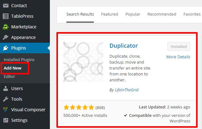 Install Duplicator1
