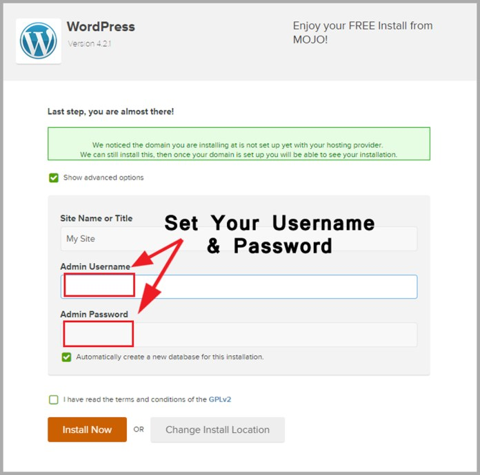 set username & password