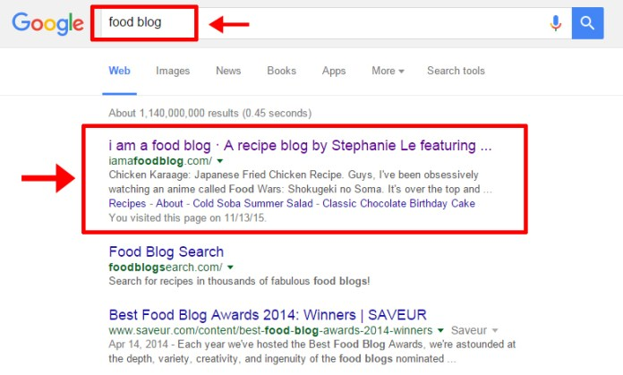 Food Blog_Google Search Engine