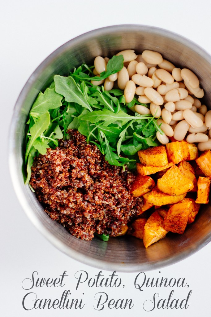 Sweet Potato, Quinoa, and Cannellini Bean Salad with Lemon Vinaigrette