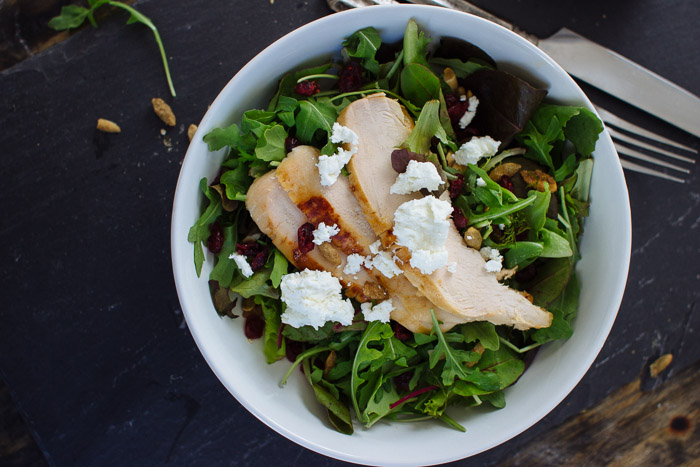 Roasted Chicken Salad with Goat Cheese and Champagne Vinaigrette