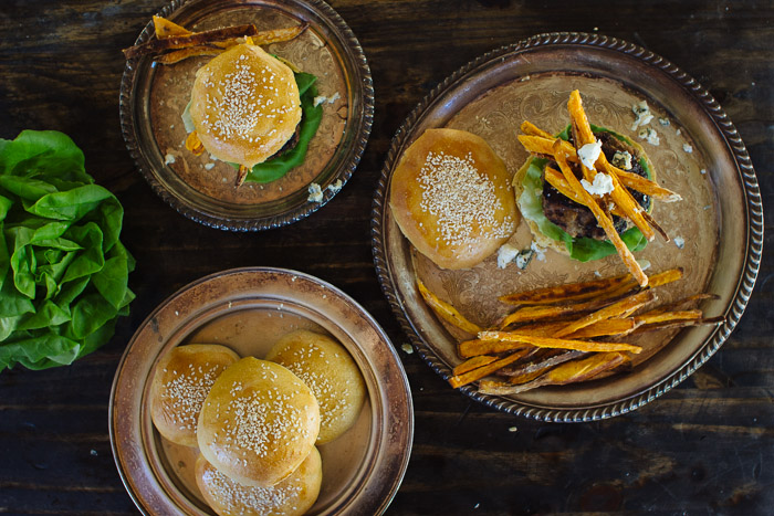 Blue Cheese Hamburgers with Sweet Potato Fries
