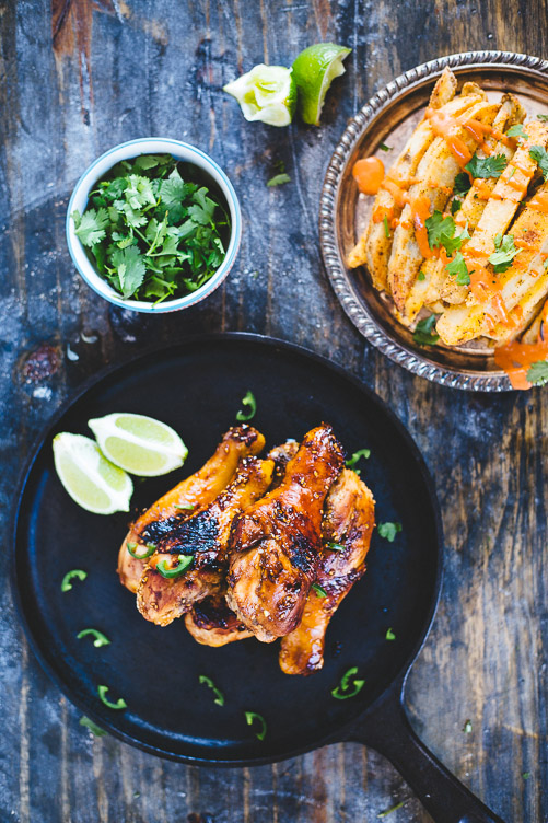 Sweet and Spicy Drumsticks (with baked Spicy Fries!)