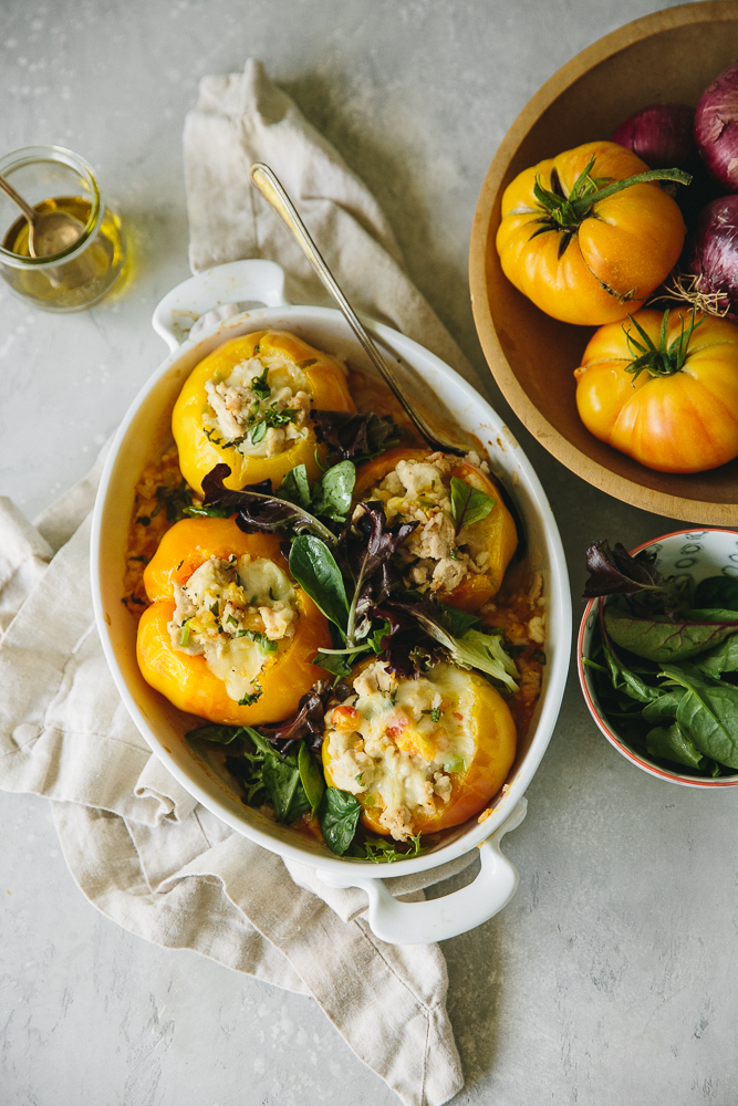 Turkey, Mozarella & Rice Stuffed Heirloom Tomatoes with Basil and Mixed Greens