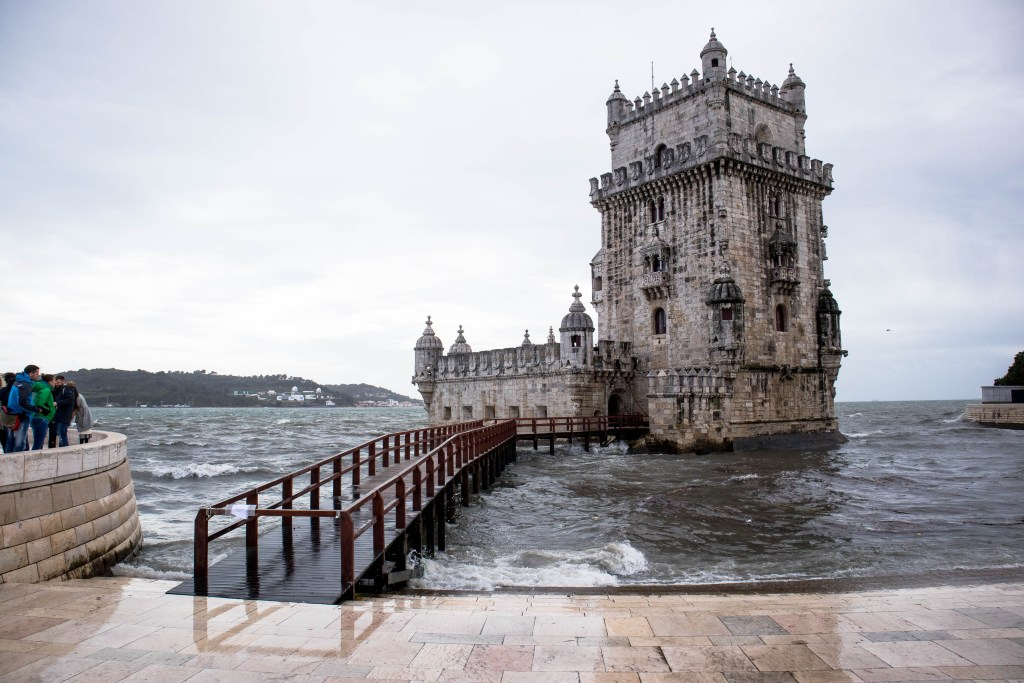 tower of belem on a cloudy day