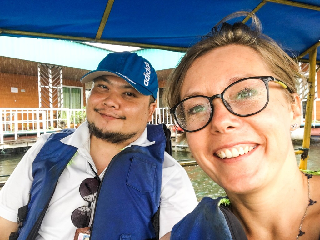 Joanna and take me tour guide on a boat in mea ngat dam