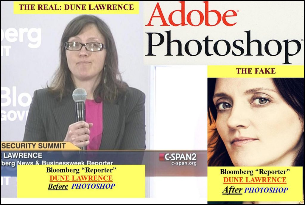 DUNE LAWRENCE, BLOOMBERG REPORTER PHOTO IS A FAKE ADOBE COVER UP