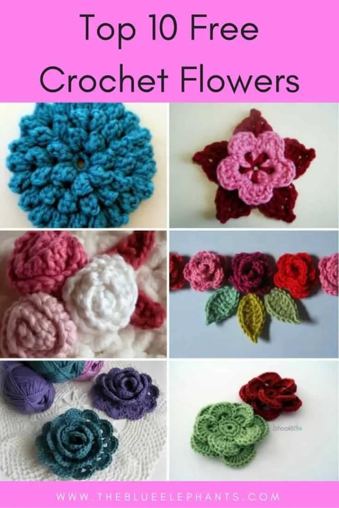 Free Crochet Double Flower Pattern : Top 10 Free Crochet Flower Patterns The Blue Elephants