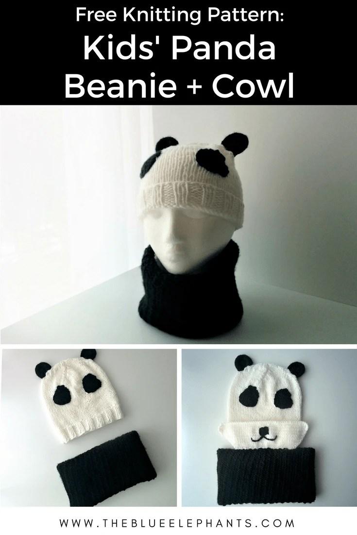 Kids\' Panda Beanie + Cowl (Free Knitting Pattern)  