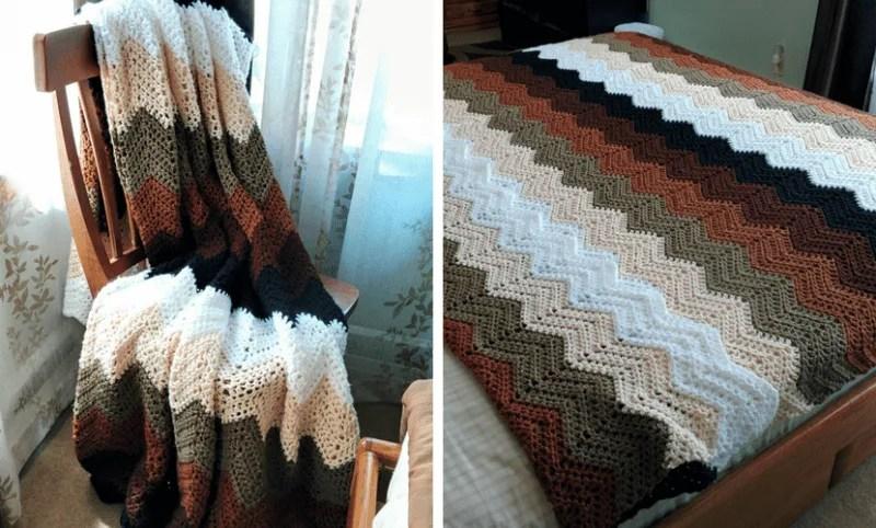 Mocha Ripple Throw An Easy Crochet Chevron Pattern