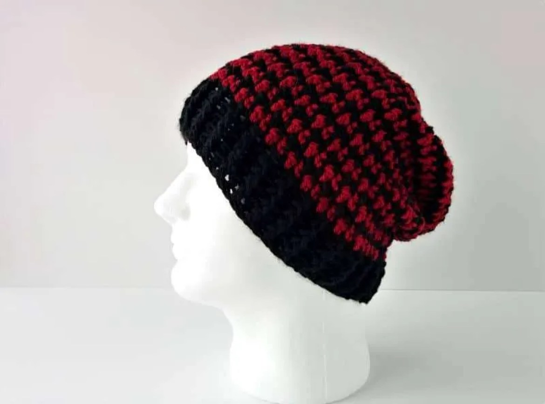 Houndstooth Beanie FREE Crochet Pattern |