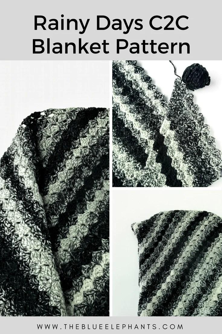 Rainy Days Corner to Corner Crochet Blanket Pattern |