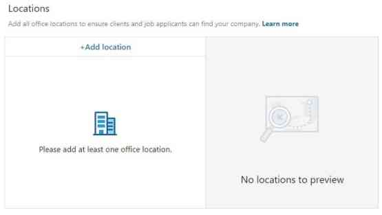 LinkedIn Page Creation: Specify Location