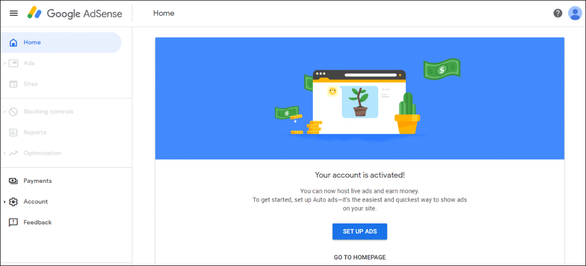 adsense first screen