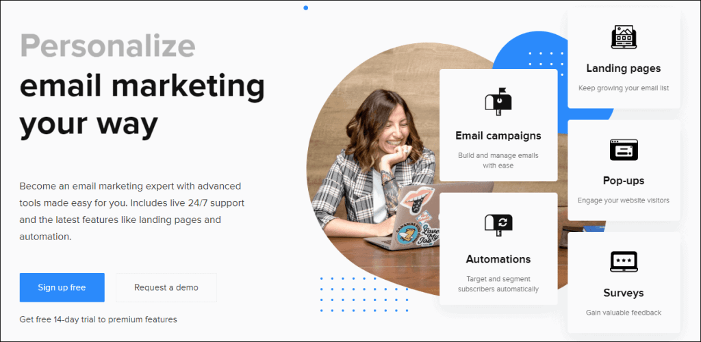 Email Marketing Template Software- Mailerlite dashboard