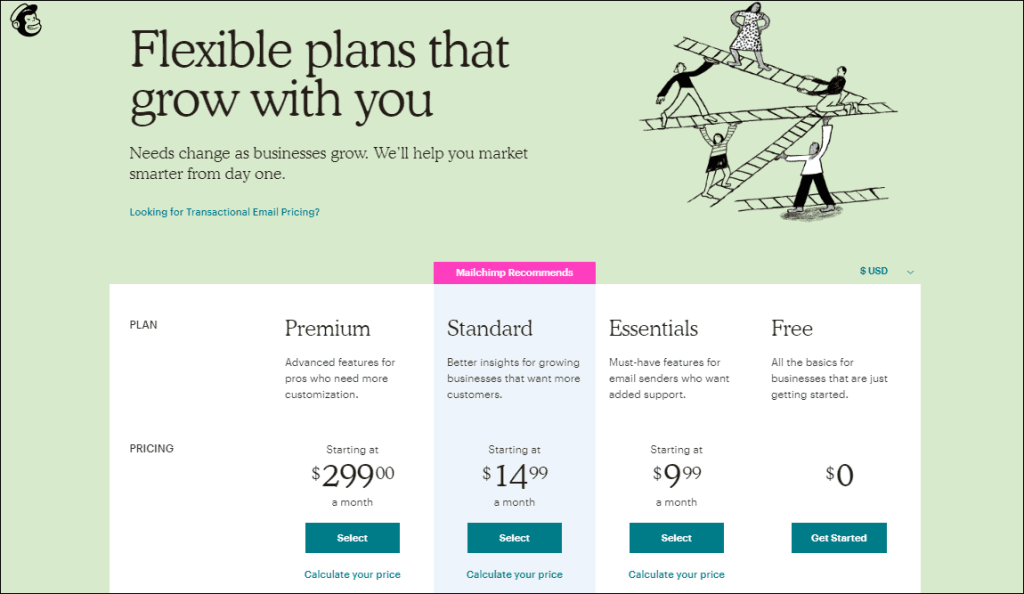 mailchimp email marketing software pricing min