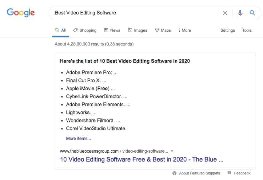 Featured Snippets definition and examples