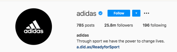 Adidas Instagram Profile, bio and link in description