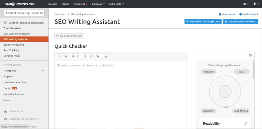 SEMrush Writing Assistance Quick checker