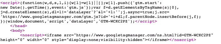 Example of the code and how it looks in the page source: