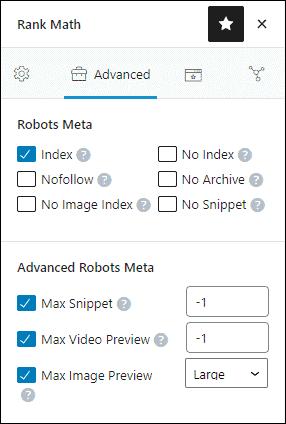Rank Math robots meta individual pages