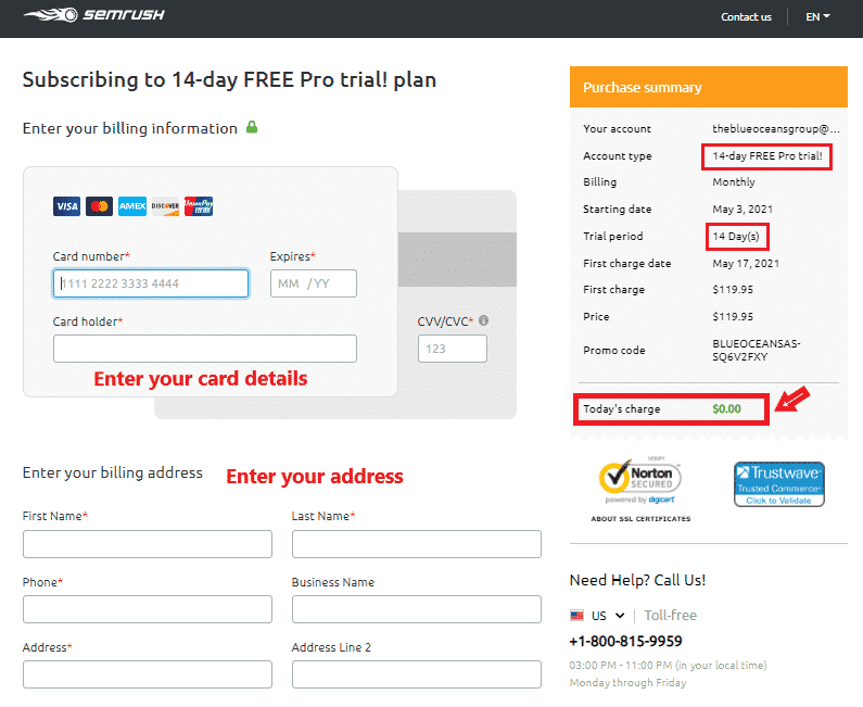 semrush steps for 14-day trial for free