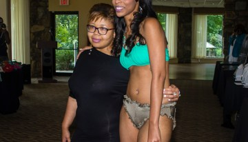 Jammie posing with model after her brief clothing/swim wear fashion line.ccc