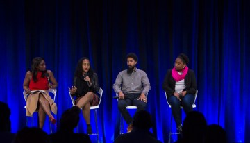 Lola Ogunnaike Moderates Racial Justice: Social Innovation & Disruption For Good, featured Jana Landon-Tech Diversity, Google, Calena Jamieson-Program Manager, Black Girls CODE,  Errol King – Experience Manager, Google.Photo by Bernard Smalls