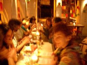enjoying an exotic dinner