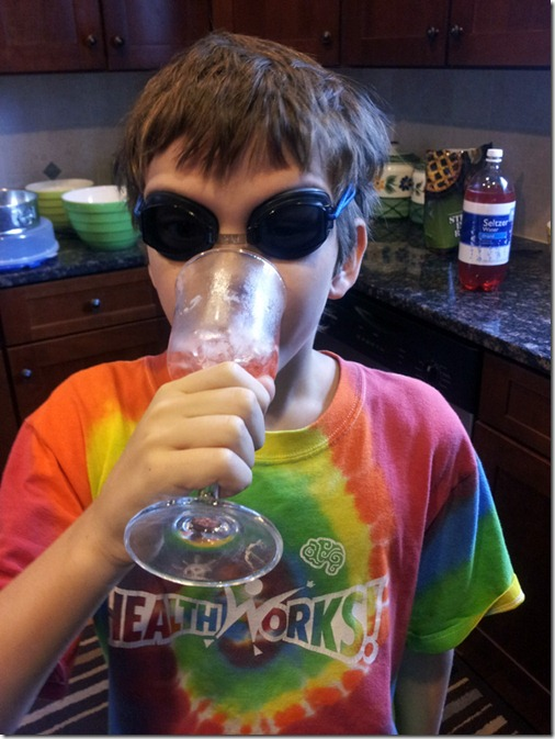 drinking sparkling koolaid in goggles