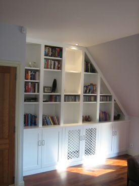 Hand-made bookcase for sloping ceiling Clapham Common