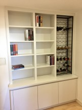 Square edged contemporary bookcase with cupboards below
