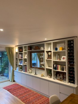 Bespoke Bookcase shelving unit with integrated wine rack