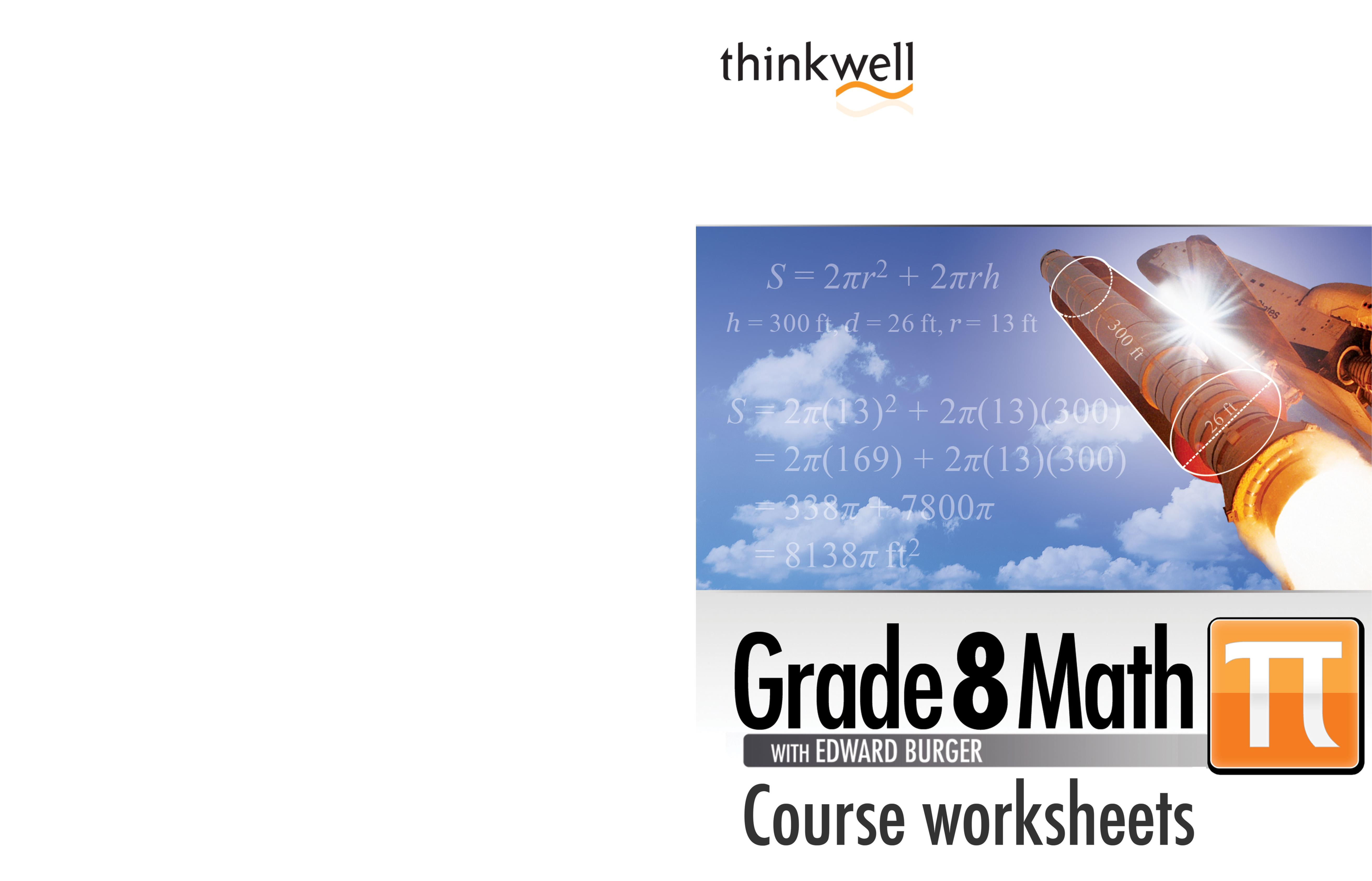 Thinkwell Grade 8 Math Worksheets And Answer Keys By