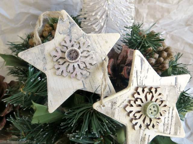 2 rustic star Christmas ornaments, How to Make Rustic Star Christmas Ornaments www.theboondocksblog.com