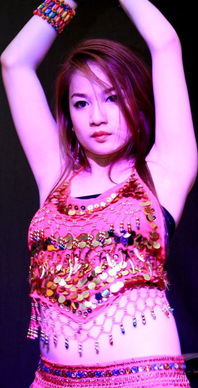 HOT MOVES: A contestant performs a belly dance.