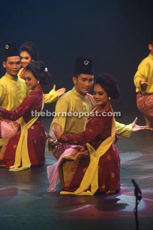 The dancers presenting a dance titled 'Kambang Si Awang & Si Dayang'.