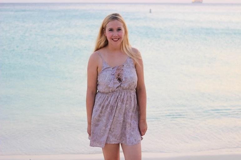 tie up dress on beach in aruba