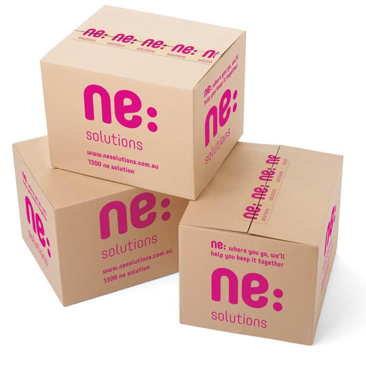 ne:solutions branded packing box