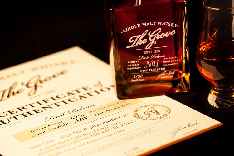 The Grove Experience Bottle and Certificate of Authenticity Design